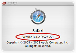 Mac OS X Safari About Window