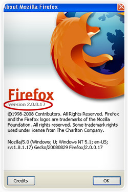 Windows Firefox About Window