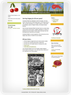 Screenshot of website for Crossroads Market