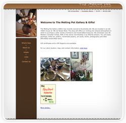 Screenshot of website for Melting Pot Gallery