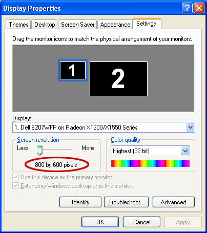 Changing screen resolution in windows 10